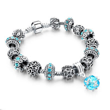 Load image into Gallery viewer, LongWay European Style Tibetan Silver Blue Crystal Charm Bracelets for Women (Free Shipping) - SuperShopSale.com