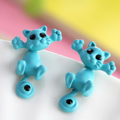 Hug Meow Kitty Cat Fine Stud Earrings