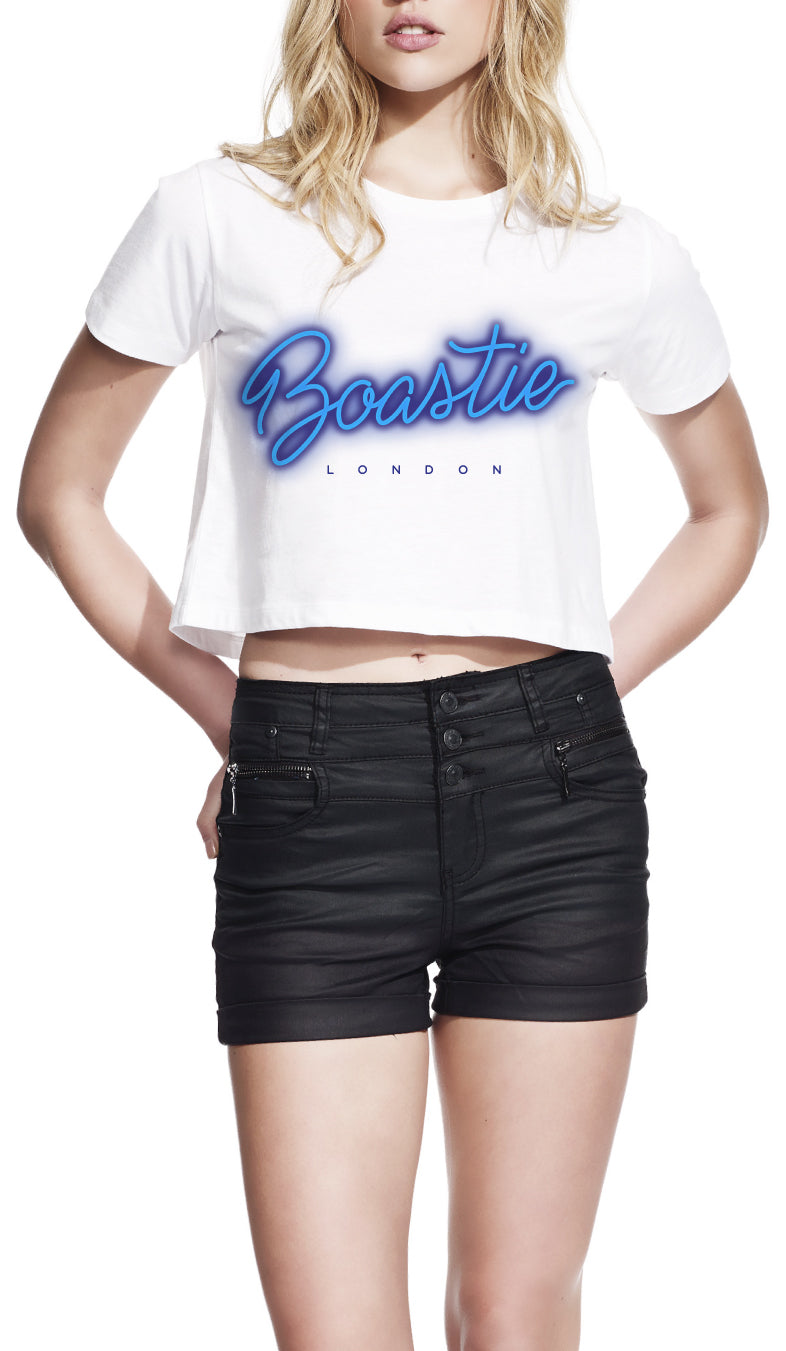 Womens Blue Neon Cropped Top - Boastie London