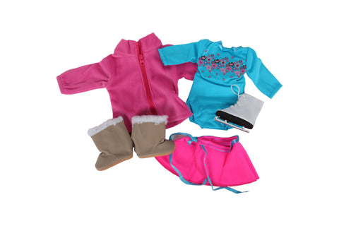 "Skating Bundle - 18"" Doll Outfit Set - 4 Items Including Doll Leotard and Skirt,  Sherpa-Trimmed Doll Snow Boots, Doll Ice Skates, and Plush Jacket- Fits American Girl Dolls"