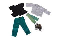 "BW & Teal Outfit Bundle - 18"" Doll Outfit Set - Top and Pants for Dolls, White Doll Jacket & Scarf, Printed Flats - Fits American Girl Dolls"