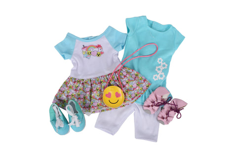"Smiling Is My Favourite Bundle - 18"" Doll Outfit Set - 5 Items Including a Dress, Tunic, Leggings, Doll Sandals, Cross Body Bag for Dolls, & Sneakers - Fits American Girl Dolls"