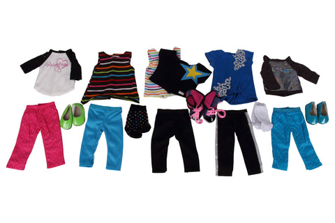 "Fashion Bundle; 9 Items, fits 18"" Dolls: Metallic Sweatshirt Set, Hi-Lo Set, Star Set, Star Double Set, Friendship Top & Pants, High Top, Blue Shoes, Green Shoes, Socks. Fits American Girl Dolls."