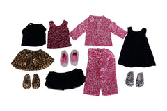 "Springfield Dolls Animal Prints Collection - 18"" Doll Outfits - 6 Items: Tank & Leopard Skirt, PJ's, Zebra Tank &Tutu, Leopard Flats, Skater Dress & Flats, Bunny Slippers - Fits American Girl Dolls"