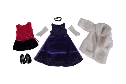 "3-Piece Fancy Shmancy Bundle - 18"" Doll Outfit Set - 3 Items Including Pink Doll Dress, Fur White Coat, Purple Dress Doll Dress & Black Shoes - Fits American Girl Dolls"