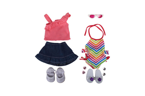 "Summer Lovin' Bundle - 18"" Doll Outfit Set - 5 Item Set Including 18 Inch Doll Skirt, Swimsuit, Sandals, Espadrilles, and Sunglasses - Fits American Girl Dolls"