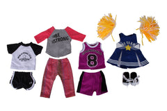 "Springfield Dolls Sporty Girl Bundle - 18"" Doll Outfit Set - 5 Items Including Soccer Outfit, Cheerleader Outfit & Poms, Basketball Outfit & Sneakers - Fits American Girl Dolls"