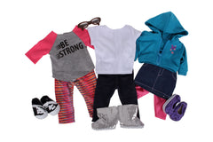 "Casual Gal Bundle - 18"" Doll Outfit Set - 7 Items Including Doll Hoodie, Pants, Shirts, Shoes, and Glasses - Fits American Girl Dolls"