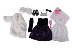 Weekend at Grandmas Bundle -- 5 Items: Fur Coat White, Purple Dress W/Rose, Nightgown & Blankets, Bunny Slippers, Black Glitter Flats, Furry Boots, Silver Purse, Sunglasses