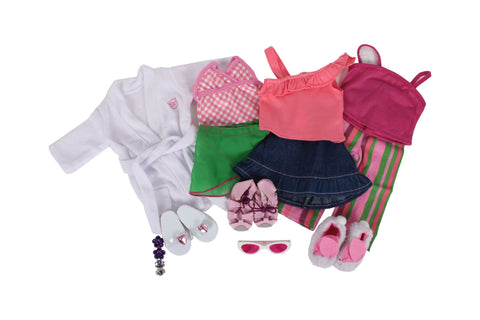 "Smarty Pants - Summer Sleepover Bundle - 18"" Doll Outfit Set - 8 Items Including Doll Shirt, Skirts, Swimsuit, Robe, Pajamas, Slippers, Two Sandals, and White Sunglasses - Fits American Girl Dolls"