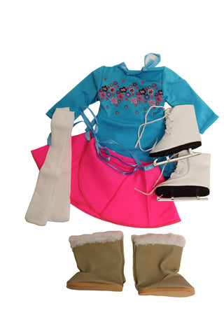 Skating Bundle 2 - 4 Items Including Doll Skirts, Leotard, Boots, Ice Skates, and Tights - Fits American Girl Dolls