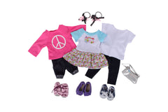 "Springfield Dolls Casual Bundle - 18"" Doll Outfit Set - 7 Items Including Dress, 18 Inch Doll Top, Leggings, Sweatshirt & Shorts, Doll Sandals, Sneakers, Slip-on and Hair Bands"