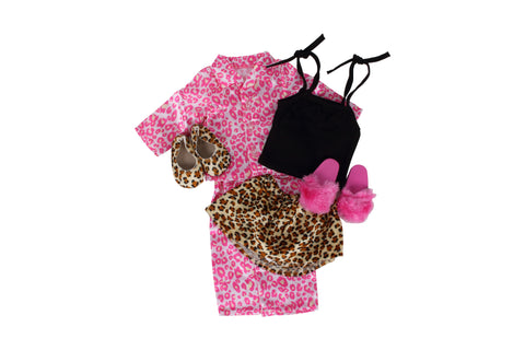 "Leopard Print Bundle - 18"" Doll Outfit Set - 4 Items Including Tank, Skirt, Pajamas, Doll Slippers and Flat Doll Shoes - Fits American Girl Dolls"