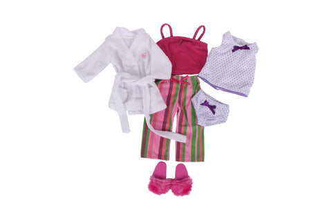 "PJ Bundle - 18"" Doll Outfit Set - 6 Items Including Doll Tank Top & Stripe Doll Pajamas, Tank & Undies, Robe, Slippers - Fits American Girl Dolls"