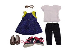 Looking Cool at School Bundle - 18 Doll Outfit Set - 5 Items Including Doll Dress, Top, Leggings, Brown Glasses and Doll Shoes - Fits American Girl Dolls