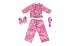 "Leopard PJ Bundle - 18"" Doll Outfit Set - 3 Items Including Leopard Print Doll Pajamas, Doll Bunny Slippers and Hair Brush- Fits American Girl Dolls"