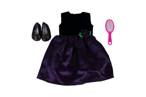 "Party Girl Bundle - 18"" Doll Outfit Set - 3 Items Including Purple Dress with Rose, Black Glitter Flats and Doll Hair Brush - Fits American Girl Dolls"