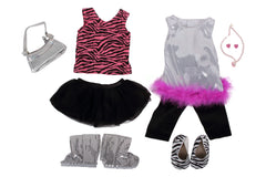 "Zebra Print Bundle - 18"" Doll Outfit Set - 7 Items Including Zebra Tank and Tutu, Pop Star Outfit, Sequin Boots, Zebra Print Flats, Silver Doll Purse and 18 Inch Doll Jewelry - Fits American Girl Dolls"