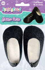 Shoes,Springfield,GLITTER FLATS           BLACK