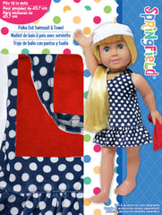 Clothing,Springfield,NAVY POLKA DOT SWIMSUIT W/TOWEL