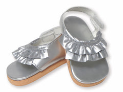 Shoes,Springfield,SILVER RUFFLE SANDALS