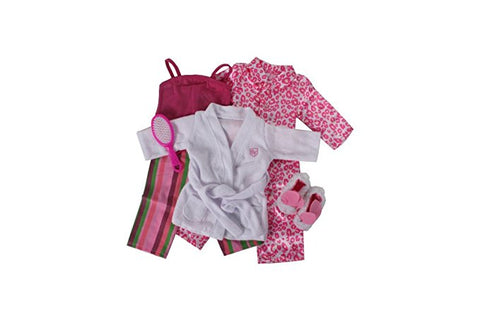 PJ Bundle -- 5 Items: Springfield- Striped Pajamas, Springfield- Bunny Slippers, Robes, Leopard Pajamas () Springfield- Brush0