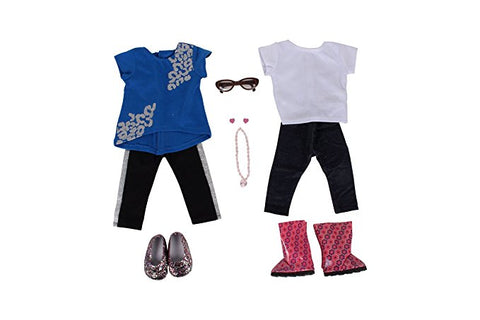 "I Love Sparkles Bundle - 18"" Doll Outfit Set - 6 Items Including Hi-Lo Top and Pants, White Top and Jeggings, Brown Doll Glasses, Necklace and Earrings- Fits American Girl Dolls"
