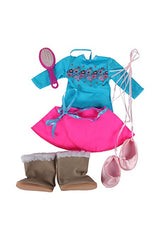 "Springfield Collection Ballet Bundle 2 - 18"" Doll Outfit Set - 4 Items Including Leotard, Skirt, Doll Snow Boots Boots, Slippers, Doll Brush  - Fits American Girl Dolls"