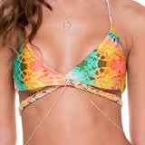 Luli Fama Swimwear SOL REVERSIBLE CROSS OVER HALTER - Multicolor