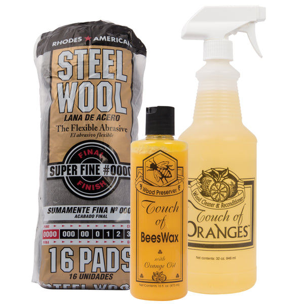 wood cleaner and beeswax wood maintenance