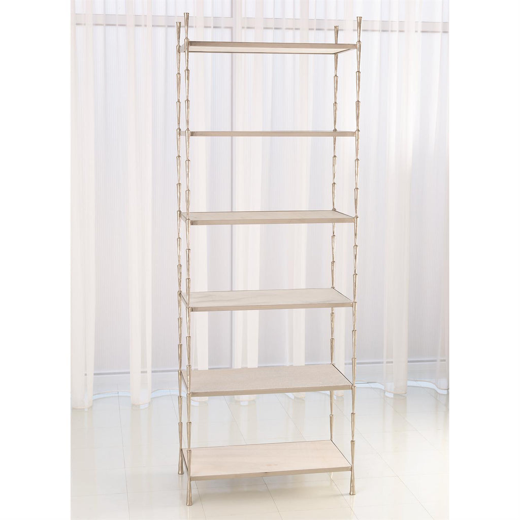 Spike Etagere - Antique Nickel w/White Marble - The Hive Experience
