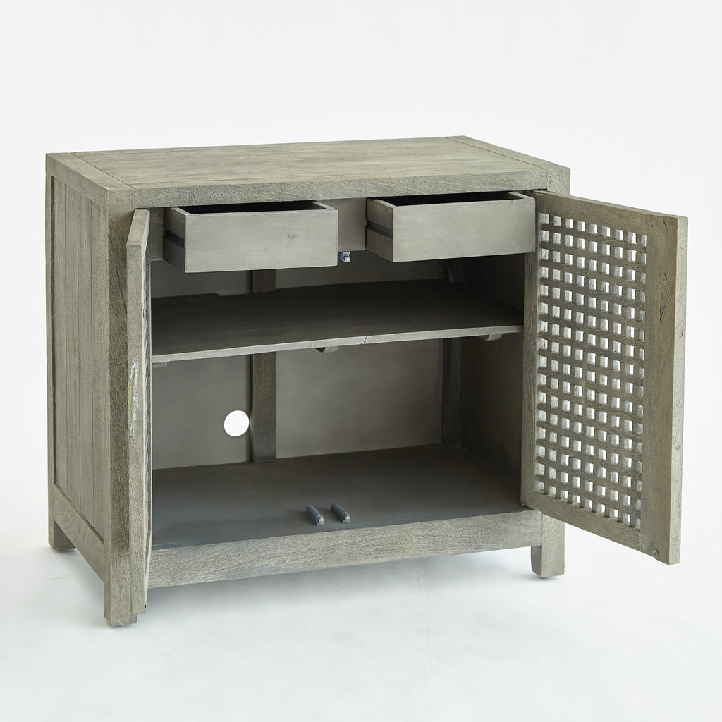 Driftwood Lattice 2-Door Cabinet - Grey - The Hive Experience