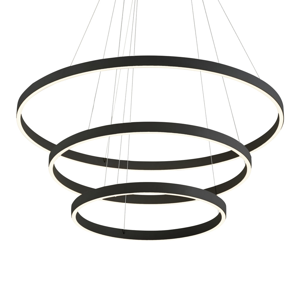 Cerchio LED 3 Tier Chandelier - Black - The Hive Experience