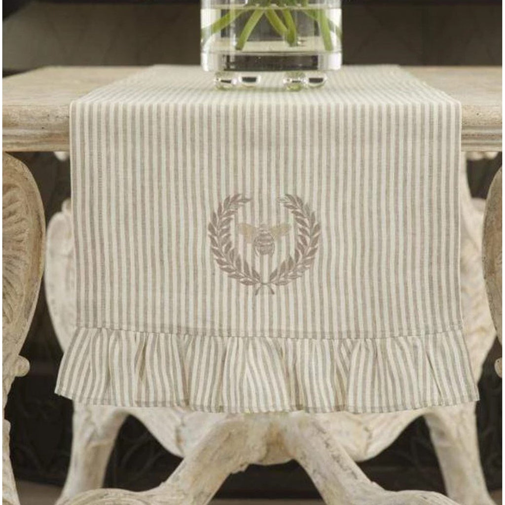 Bumble Bee Embroidered Linen Table Runner - The Hive Experience