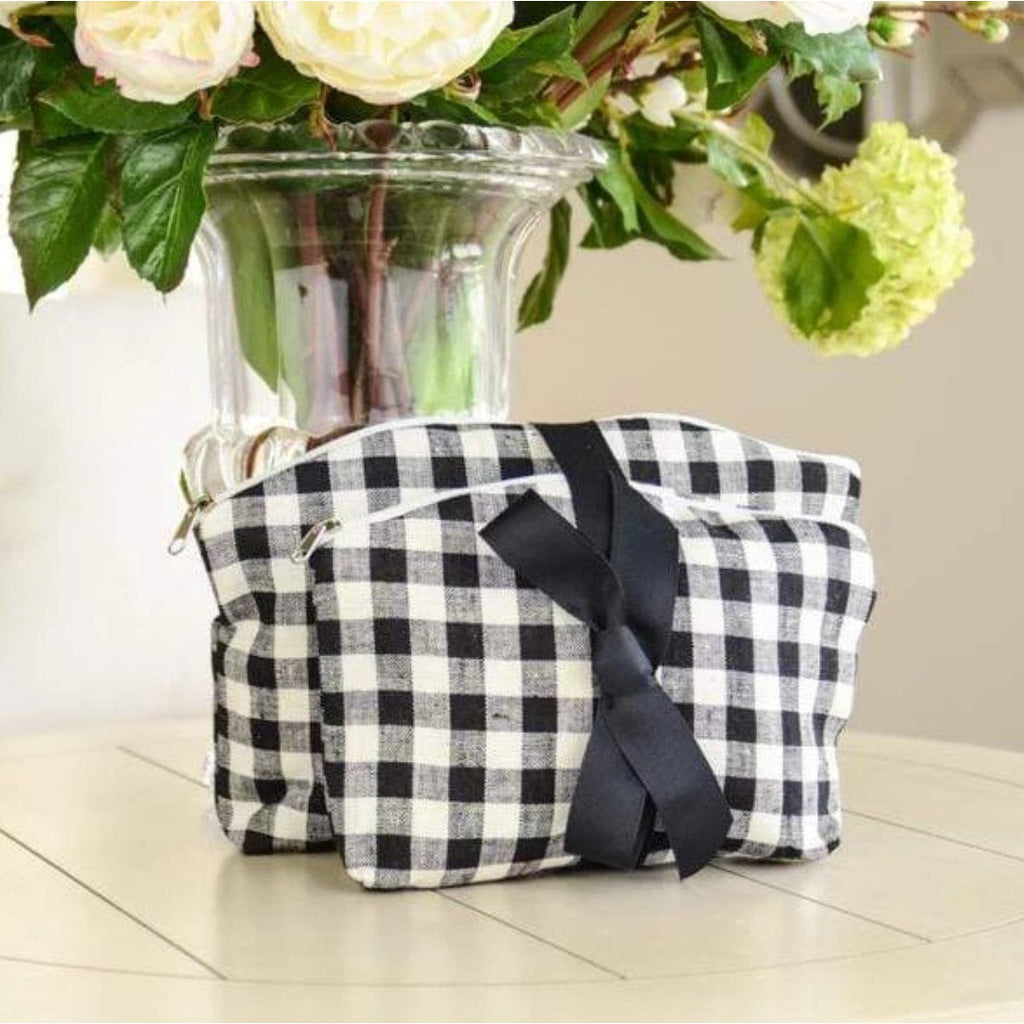 Checkered Linen Make Up Bag Set - The Hive Experience