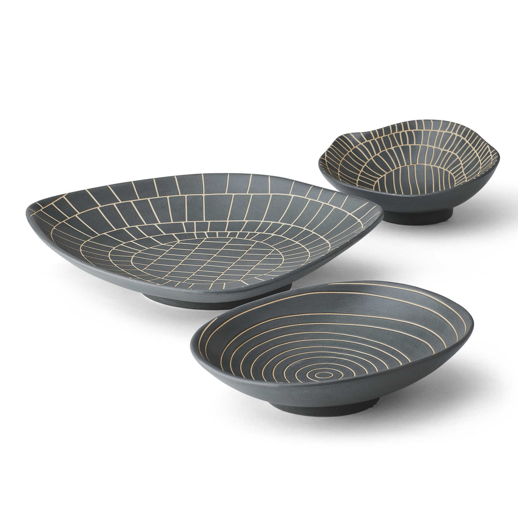 Hieroglyphics Bowls, Gray - Set of 3 - The Hive Experience
