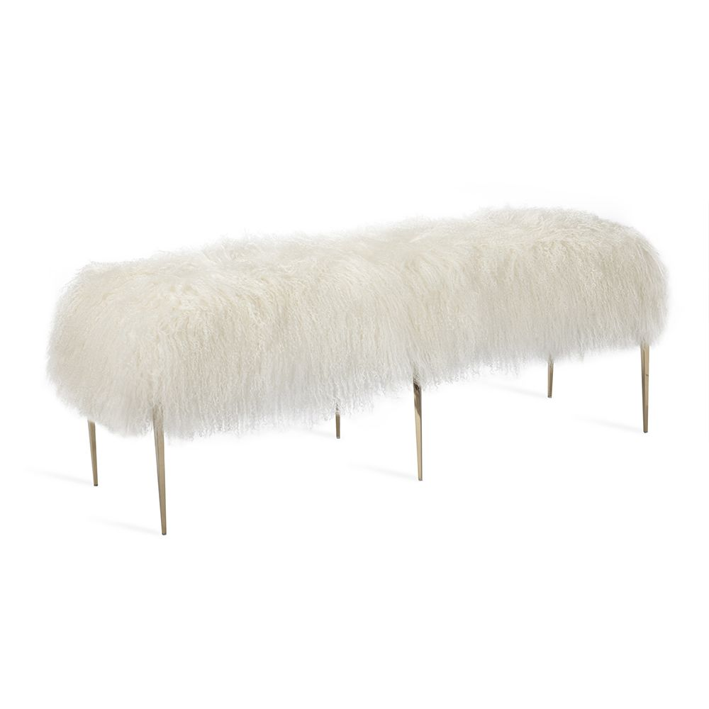 Stiletto Bench - Ivory Sheepskin - The Hive Experience