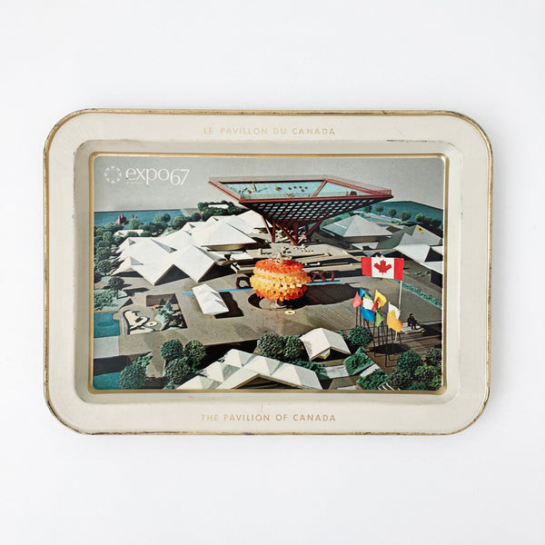 EXPO 67 PAVILION OF CANADA ALUMINUM TRAY — Vintage collection