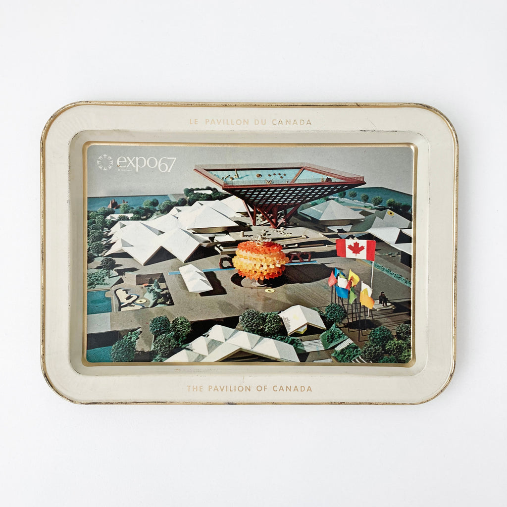 EXPO 67 PAVILION OF CANADA SMALL ALUMINUM TRAY — Vintage collection