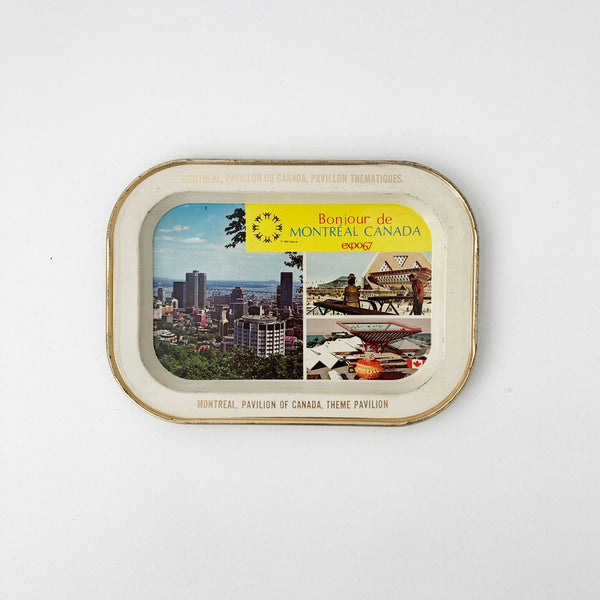 EXPO 67 BONJOUR DE MONTREAL SMALL ALUMINUM TRAY — Vintage collection
