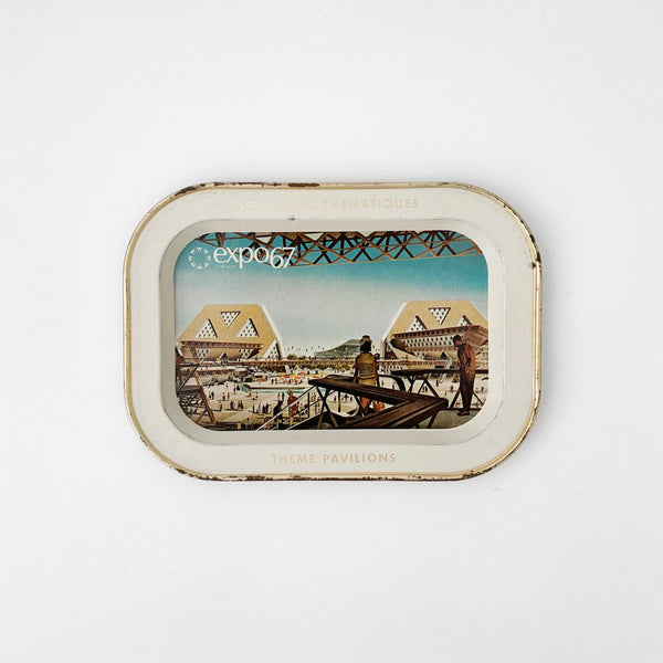 EXPO 67 THEME PAVILIONS SMALL ALUMINUM TRAY — Vintage collection