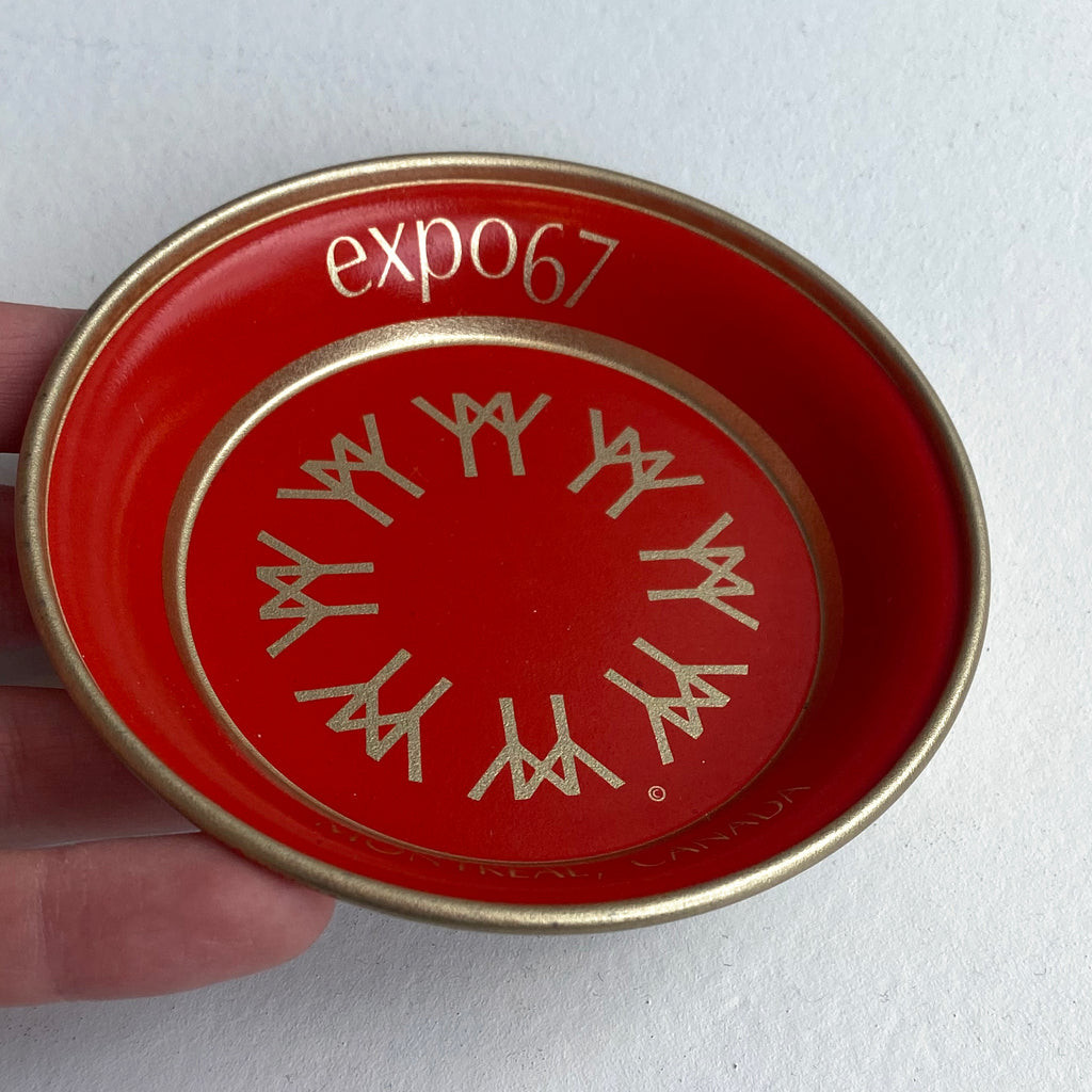EXPO 67 SMALL ALUMINUM RED TRAY — Vintage collection