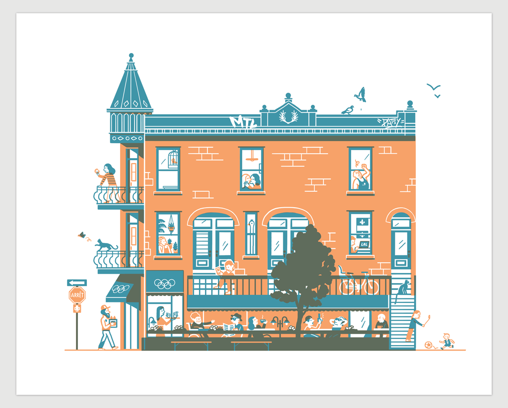 MONTREAL MILE END – CAFÉ OLIMPICO (serigraphy) — by Marmit and Julien Castanié