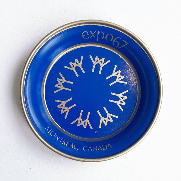 EXPO 67 SMALL ALUMINUM BLUE TRAY — Vintage collection