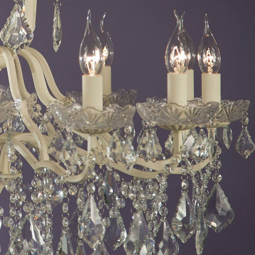 12 Arm Cream Crack Cut Glass Chandelier