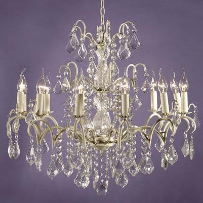 12 Arm Cream Crack Short Glass Cut Chandelier