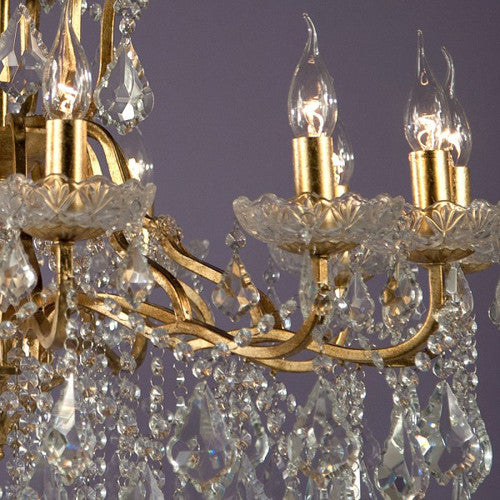 12 Arm Gold Cut Glass Chandelier