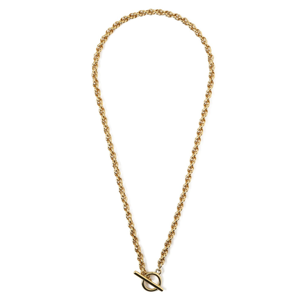 Chunky Rope Chain T-Bar Necklace - Gold Plated