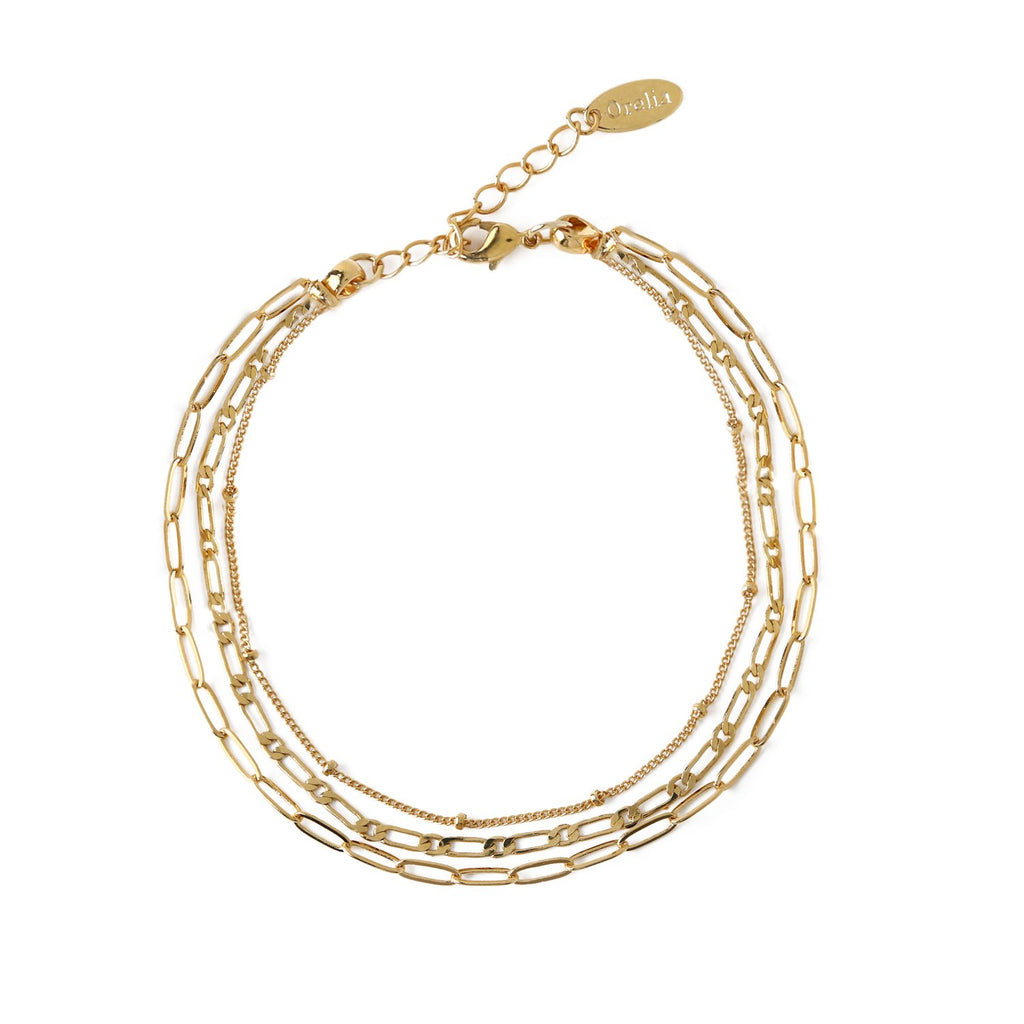 Mixed Chain 3 Row Bracelet - Gold Plated