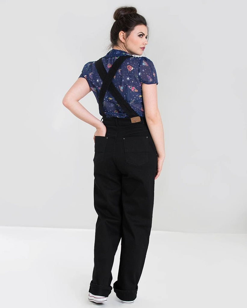 Hell Bunny Elly May Denim Dungarees - Black
